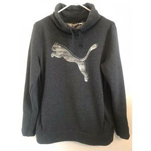 Puma Gray Cowl Neck Logo Sweatshirt with Pockets